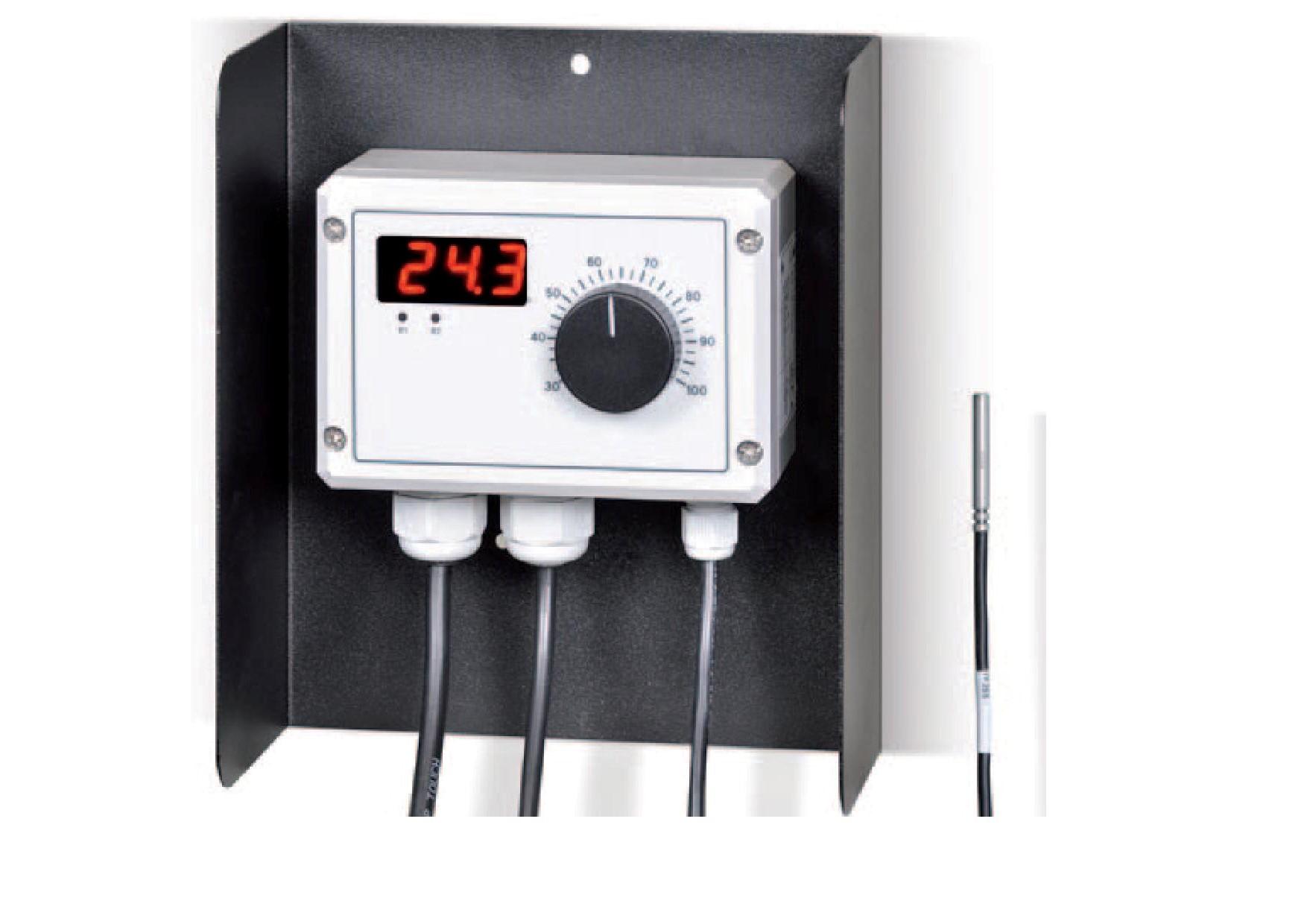 Remko Elektronischer Feuchtraumthermostat 30-100 °C Typ ETR-5 mit Display, Schutzart IP 54 und je 5m Anschlusskabel, inkl. 5m losem Hochtemperaturfühler