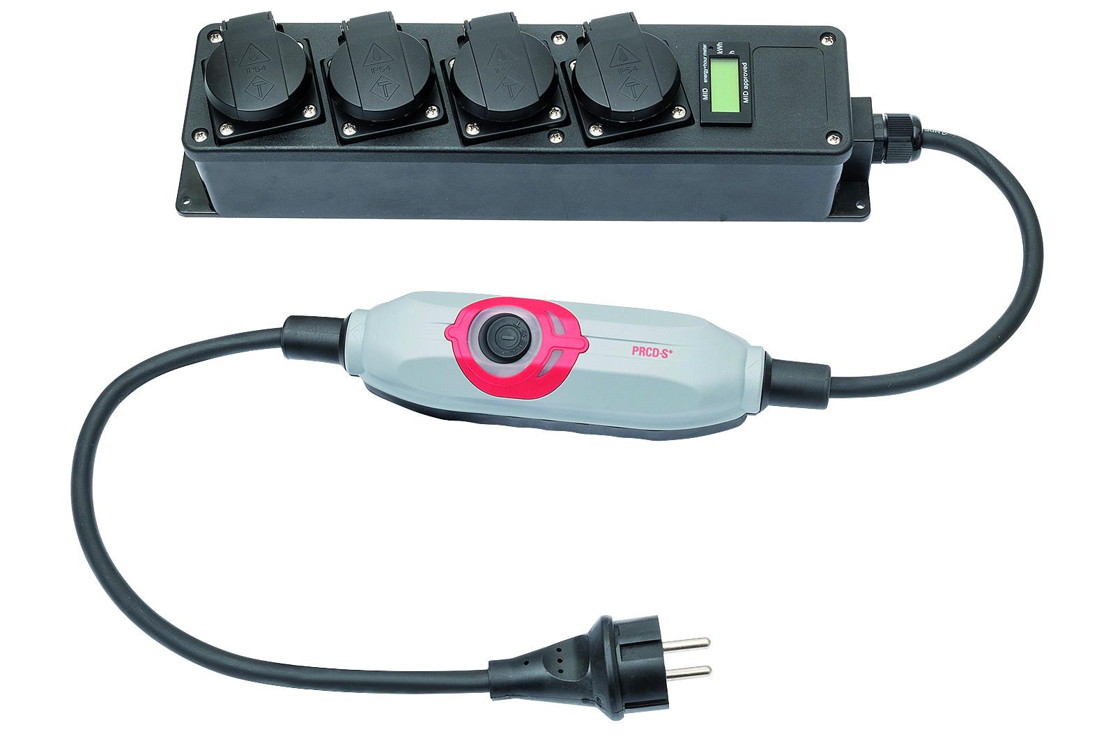 Mobiler Stromzähler mit Steckdosenleiste 4-fach und PRCDS+ - Digitaler Energiezähler zu Abrechnungszwecken geeignet - MID geeicht - 10 Stk.
