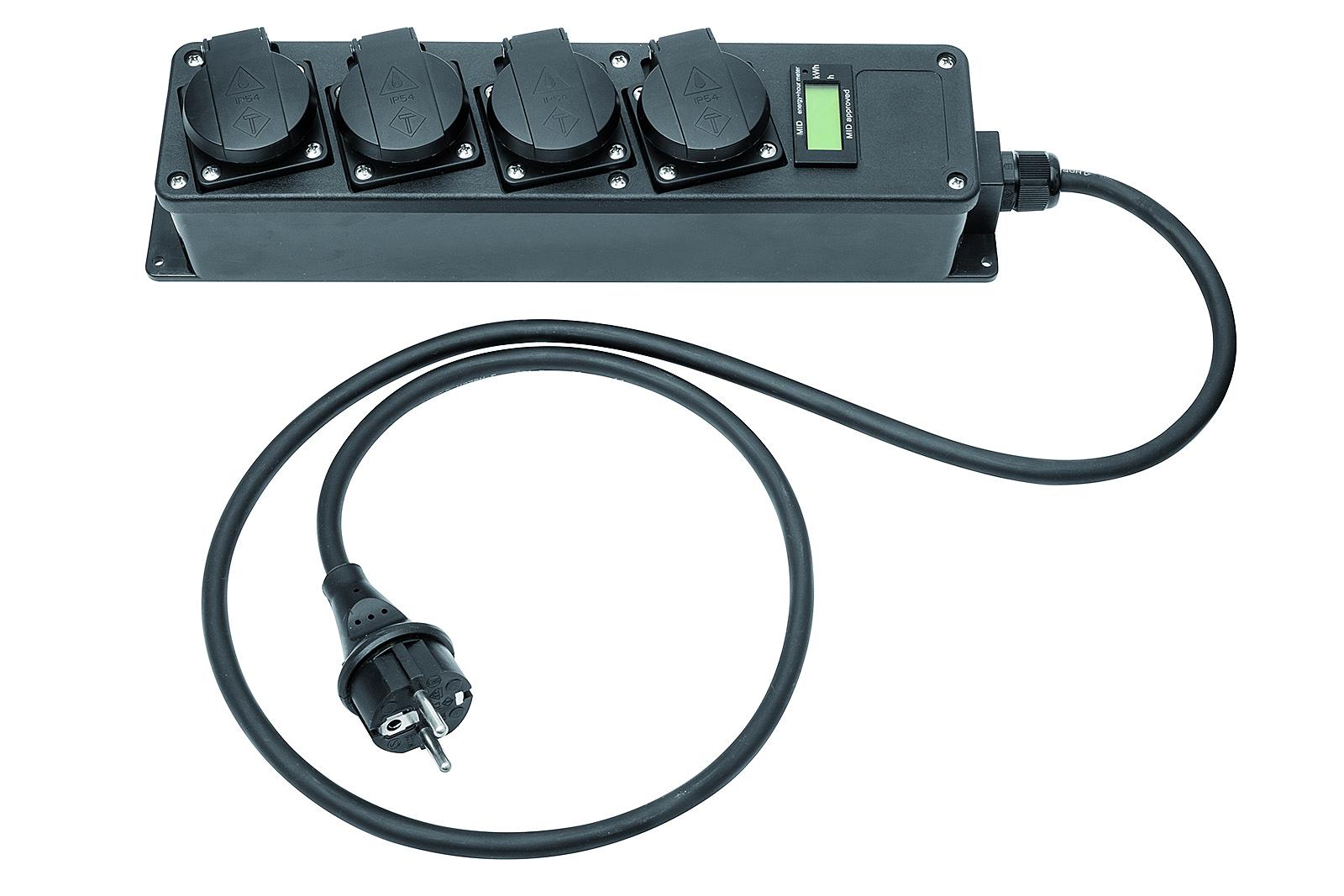 Mobiler Stromzähler mit Steckdosenleiste 4-fach - Digitaler Energiezähler zu Abrechnungszwecken geeignet - MID geeicht - 10 Stk.