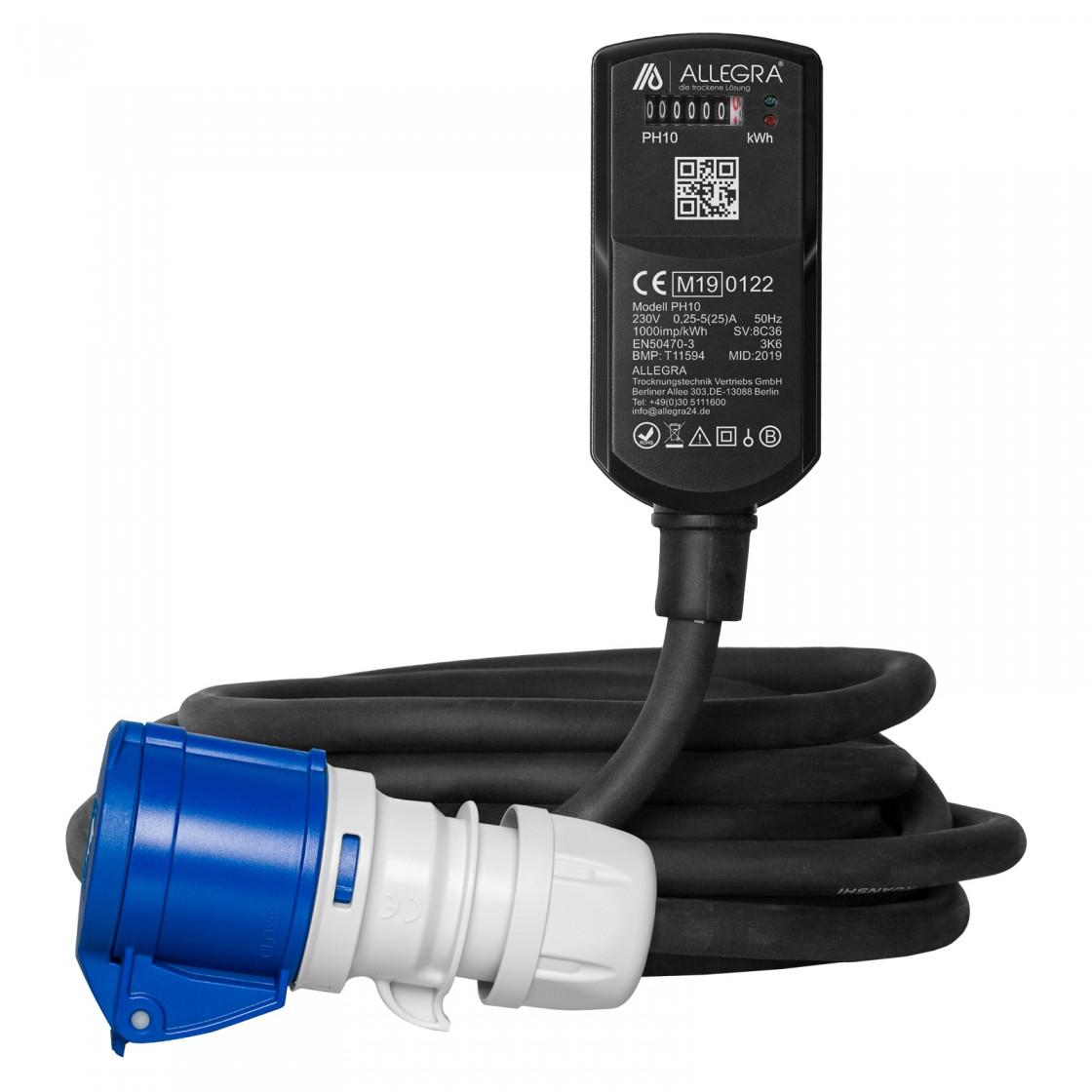 MID Adapterleitung CEE mit Stromzähler PH10   10 m   H07RN-F 3G2,5 mm² - Für Camping und Boote