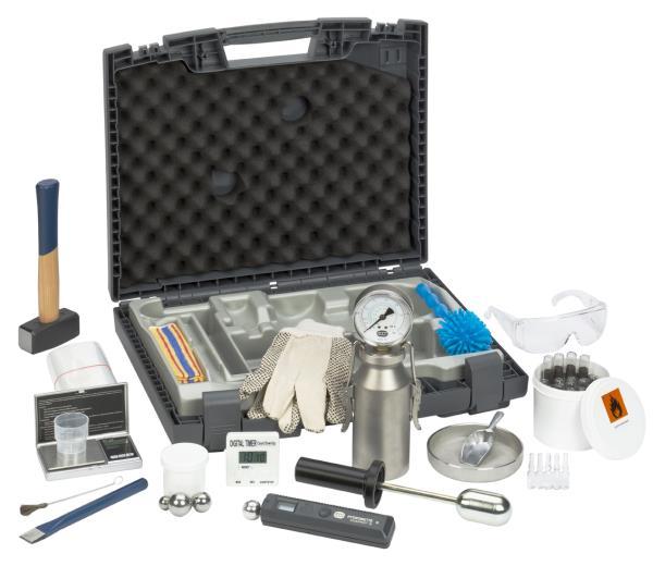 Hydromat CM-P PRO - wie CM-B, aber mit Manometer PREMIUM + Digital-Timer, Handmörser, 3 Ampullen Prüfwasser zusätzlich, Arbeitshandschuhe, Schutzbrille und Baufeuchte-Vorprüfgerät Hydromette Compact B (Best.-Nr. 2030)