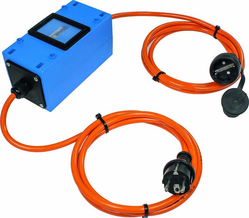 Stromzähler 230V - Mit integriertem Strom-Zähler. MID geeicht in orangener Sicherheitsfarbe