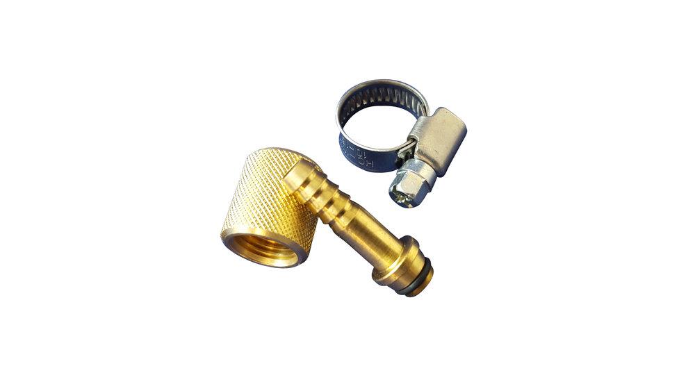OILPRESS KELLER Pumpenanschluss MVplus mit Stutzen | Überwurfmutter | O-Ring | Schlauchschelle (Messing)